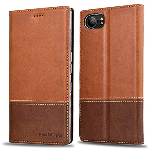 BlackBerry KEYone Case, KEZiHOME Color Matching Genuine Leather Wallet Folding Flip Case with Kickstand and Multiple Card Slots Protective Cover for BlackBerry KEYone (Khaki)