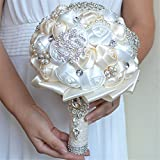 Prettybuy Handmade Diamond Pearl Rhinestone Brooch Bridal Hold Flowers Wedding Bouquet Satin Roses Bouquet for Photo Shooting, Valentine's Day, Proposal, Birthday and Special Day Gift (WHITE IVORY)