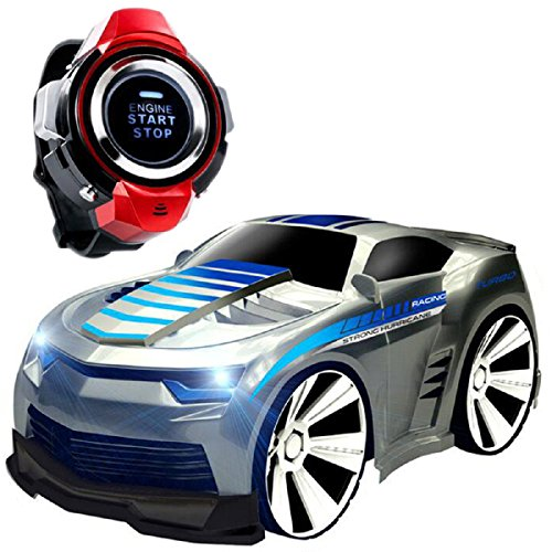 Megadream RC Remote Control Car, Electric Radio Voice Command Watch Controlled Sport Racing Vehicle – Rechargeable, Engine Start Sound, Headlights, Drift, Turbo for Kids Birthday Christmas Gift-Silver