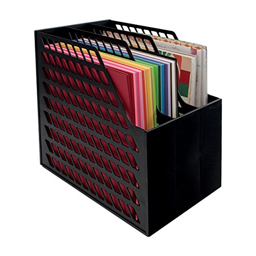 12 Hopper Bins - Cropper Hopper Easy Access Paper Holder Multi Compartment Desk Organizer - Black