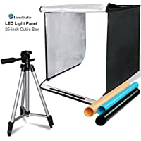 LimoStudio 25 Square Inch Cubic Box Lighting Table Top Foldable Photo Shooting Tent for Photo Shoot, 4 Colors Background, LED Panel, with 50 Camera Camcorder Tripod and Tripod Carrying, AGG2579