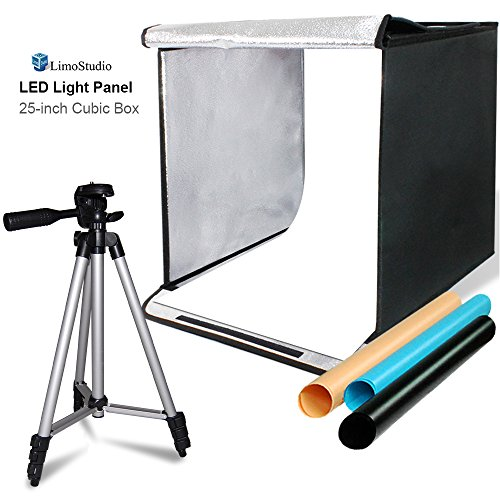 LimoStudio 25 Square Inch Cubic Box Lighting Table Top Foldable Photo Shooting Tent for Photo Shoot, 4 Colors Background, LED Panel, with 50'' Camera Camcorder Tripod and Tripod Carrying, AGG2579 by LimoStudio