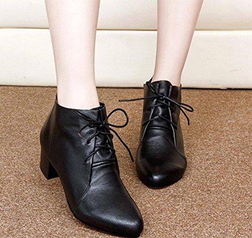 con gruesa US6 las de individuales las botas botas de otoño de cargadores los señora de UK4 encaje Sra CN36 EU36 con primavera Martin y de mujeres botas en xq7SvxUw