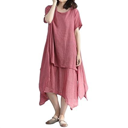 dbf31848504d Saihui Women Boho Casual Loose Dress Summer Baggy Vintage Asymmetrical  Double Layered Hem Maxi Dresses Retro