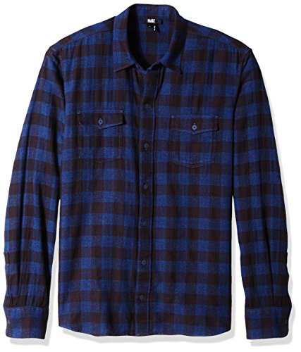 PAIGE Men's Everett Brushed Cotton Button Down Shirt, Mineral Blue Plaid, M
