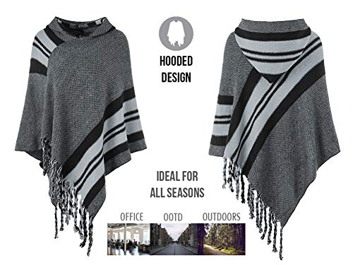 Ferand Women's Hooded Knit Striped Cape Poncho Sweater with Fringes, One Size, Grey by Ferand (Image #3)