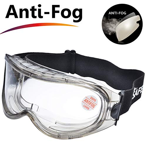 SAFEYEAR Anti Fog Safety Goggles- SG007 HD Scratch Resistant Safety Glasses Lens for Men and Women, VU Protection Over Glasses Work Goggles for DIY, Lab, Welding, Grinding, Chemistry