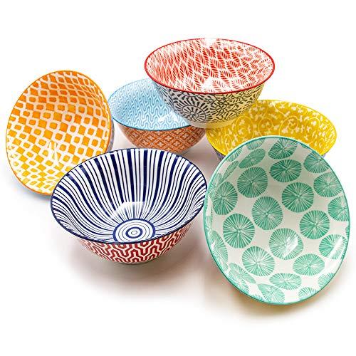 KitchenTour Porcelain Bowls Set - Cereal, Soup, Salad, Pasta, Rice, Dessert Ceramic Bowls - Assorted Colorful Design Set of 6 from K KitchenTour