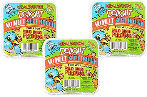 (3 Pack) C & S Mealworm Delight No Melt Suet Dough, 11.75-Ounce