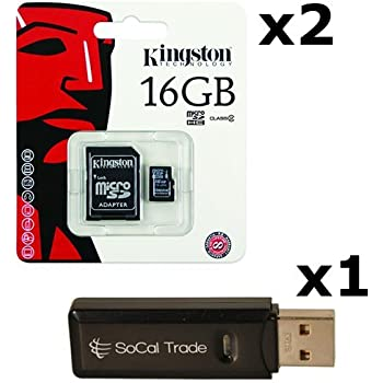 2 PACK - Kingston 16GB MicroSD HC Class 4 TF MicroSDHC TransFlash Memory Card SDC16/16GB 16G 16 GB GIGS (M.A16.RTx2.550) LOT OF 2 with USB SoCal ...