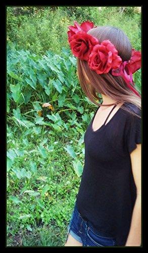 Large, dark, red, rose , crown, flowercrown, flower, lana, del, rey, festival renaissance, costume, frida, kahlo, grateful, dead, (Frida Kahlo Costumes)