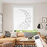 Motorized Window Roller Shade Remote Control Wireless and Rechargeable - Patterned Window Shades Blackout or Light Filtering Fabric for Home and Office Customized Size (Birds - Motorized)