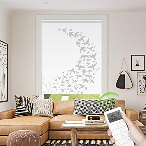 Motorized Window Roller Shade Remote Control Wireless and Rechargeable - Patterned Window Shades Blackout or Light Filtering Fabric for Home and Office Customized Size (Birds - Motorized) (Patterned Roller Shades)