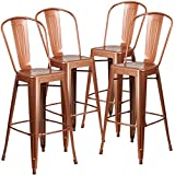 Flash Furniture 4 Pk. 30'' High Copper Metal Indoor-Outdoor Barstool with Back
