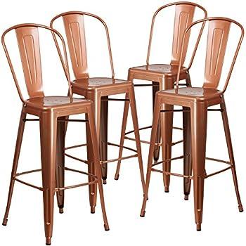Flash Furniture 4 Pk. 30u0027u0027 High Copper Metal Indoor Outdoor Barstool With