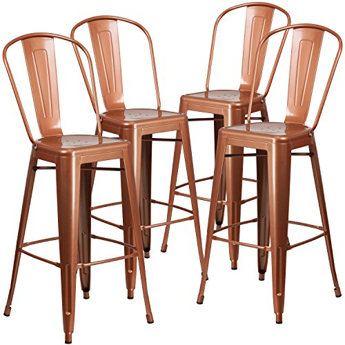 - Flash Furniture 4 Pk. 30'' High Copper Metal Indoor-Outdoor Barstool with Back