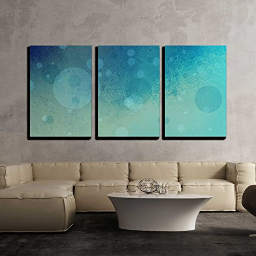 "Wall26 - 3 Piece Canvas Wall Art - Cool Blue Background with Yellow Lighting and Soft Floating Bubbles - Modern Home Decor Stretched and Framed Ready to Hang - 16""x24""x3 Panels"