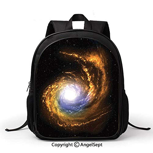 School Backpack Kids Bag Lightweigh,Galaxy,Nebula Cloud with Cosmic Rays Galactic Sparks Exploring Celestial Bodies Space Art,Orange Black, Simple Comfortable Fashion Bag