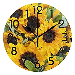 Naanle 3D Stylish Beautiful Sunflowers Print Round Wall Clock, 9.5 Inch Battery Operated Quartz Analog Quiet Desk Clock for Home,Office,School