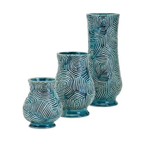Imax 25536-3 Nebat Vases, Set of 3, Teal