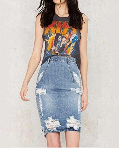 Haute Mini Fit En Paquet Slim Denim Jupe Taille Jupe Femme Denim Hanche SaiDeng Bleu 4qHXwW
