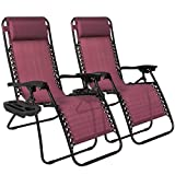 Outdoor Patio Chairs Best Choice Products Zero Gravity Chairs Case Of (2) Lounge Patio Chairs Outdoor Yard Beach- Burgundy