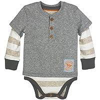 Burt's Bees Baby Baby Boys Organic Henley 2fer Bodysuit, Heather Grey, 3-6 Mo...