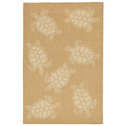 "Liora Manne TER45101422 1014/22 Almond Terrace Casual Seaturtle Indoor/Outdoor Rug, 39"" x 59"", Yellow/Gold Camel"