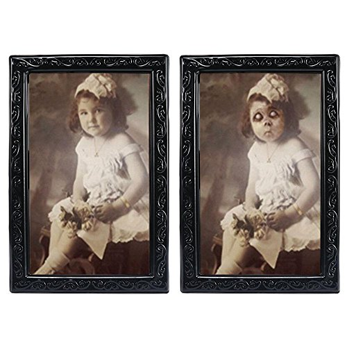 KOBWA Halloween Lenticular 3D Changing Face Horror Portrait Haunted Spooky Halloween Decorative Painting Frame Props -