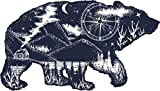 Black And White Illustration - Mountain Forest Cabin On The Lake Inside Bear Outline Vinyl Decal Sticker (4' Wide)