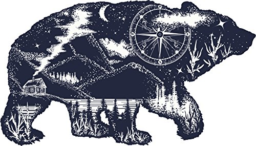 - Black And White Illustration - Mountain Forest Cabin On The Lake Inside Bear Outline Vinyl Decal Sticker (4