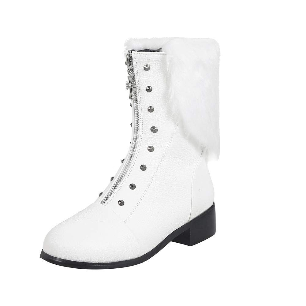Qiusa damen Retro Nieten Hairy Front Zipper Schuhe Schuhe Schuhe Plattform Leder Warm Martin Martin Stiefel (Farbe   Weiß Größe   4 UK) 71526e
