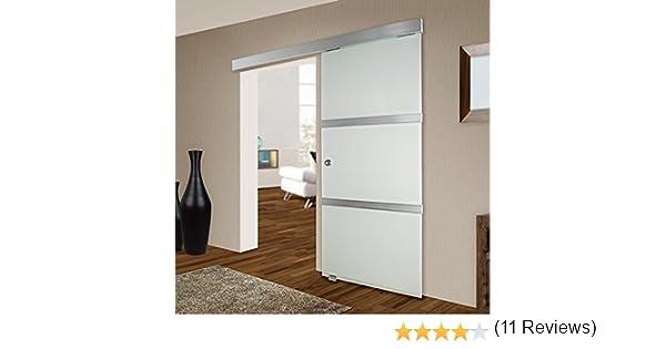 TecTake Puerta corrediza de cristal deslizante vidrio interno satinado 775x2050mm: Amazon.es: Bricolaje y herramientas