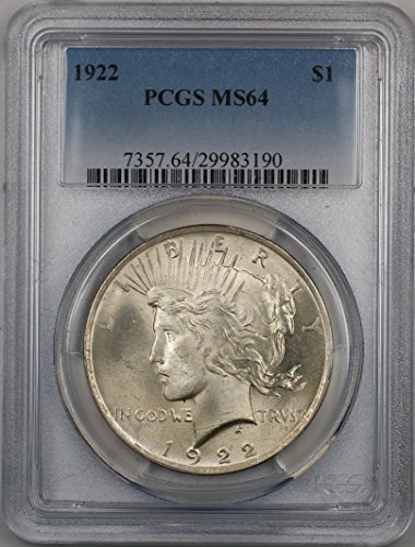 1922 Peace Silver Dollar Coin $1 PCGS MS-64 (2C)