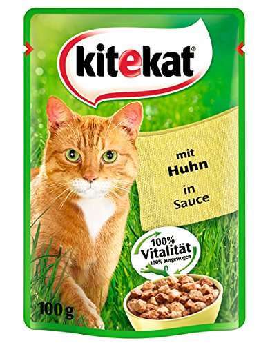 Kitekat Katzenfutter Huhn in Sauce, 24 Beutel (24 x 100 g)