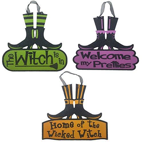 [Halloween Decoration Hanging Indoor Outdoor Wicked Witch Legs Wood Sign - Set of 3] (Halloween Decor Online)