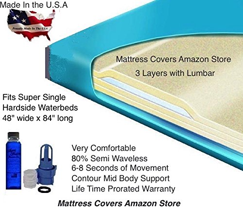 Super Single 80% Semi Waveless Waterbed Mattress with Lumbar by U.S. Waterbed