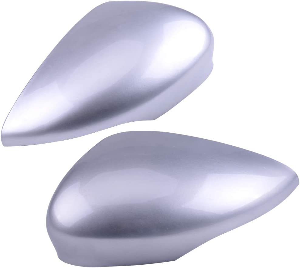 Eastar 1 pair ABS Silver Wing Door Mirror Cover Cap Housing Fit for Ford Fiesta MK7 2008-2018