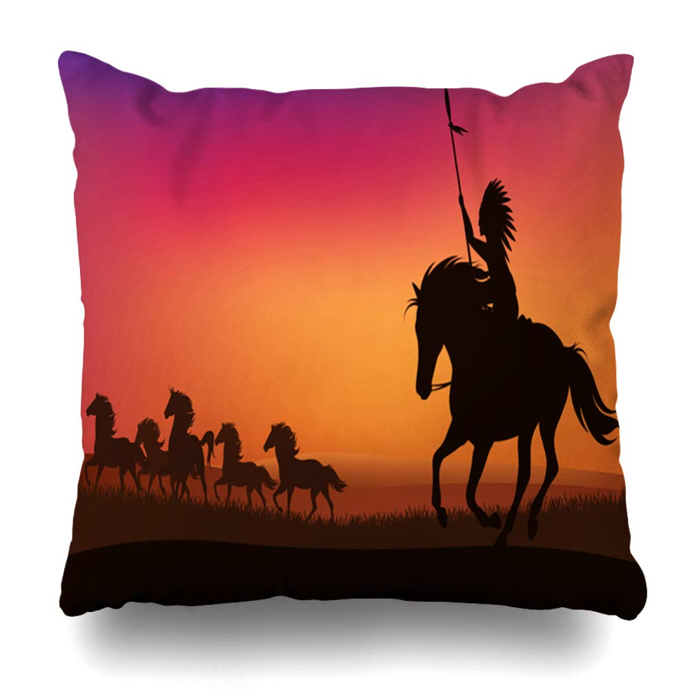 ArTmall Throw Pillow Case Horseback Wild West Scene North American Indian Contour Chasing Herd Horses Sunset Wildlife Nature Zippered Pillowcase Square Size 16 x 16 Inches Home Decor Cushion Covers