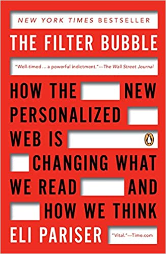 A book cover for The Filter Bubble by Eli Pariser
