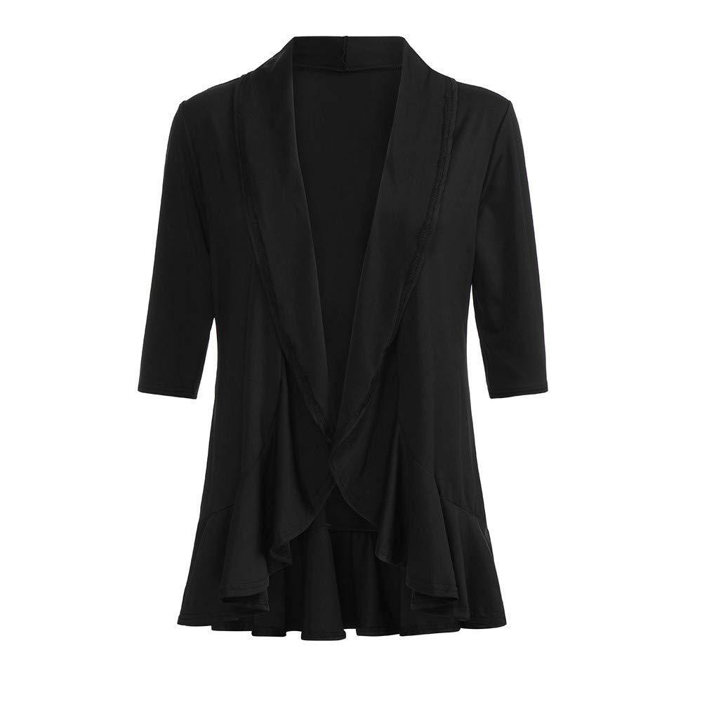 BaZhaHei-Chaqueta de Mujer, Cárdigan kimono liso causal de las voleas delanteras sólidas de las manga 3/4 de las mujeres camisetas de manga corta con ...