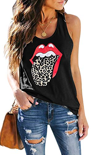 SAUKOLE Women's Sleeveless Yoga Workout Tank Tops Cute Printed Loose Fit Running Exercise T-Shirt