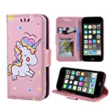 Wallet Case for iPod Touch 6/ iPod Touch 5 PU Leather Case with Multi Credit ID Card Holders Pockets Folio Magnetic Closure Cover,Rose Gold for Unicorn