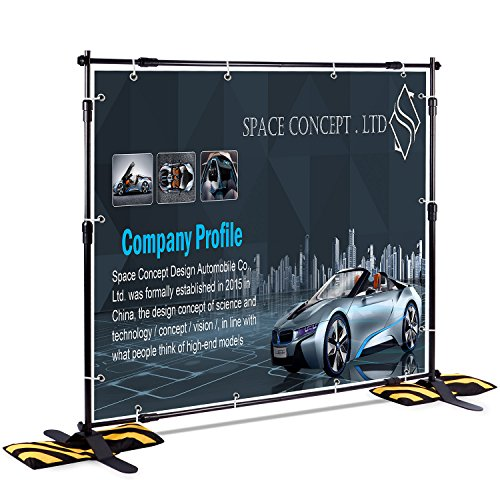 T-Sign 8'x8' Professional Backdrop Banner Stand Large Tube Heavy Duty Telescopic Step and Repeat for Photo Booth Background and Trade Show with Carrying Case and Sand Bags for Free by T-Sign
