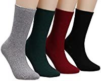 Womens 4 Pairs Stretchy Winter Cotton Knitted Boot Patterned Crew Socks Size 5-11 W606