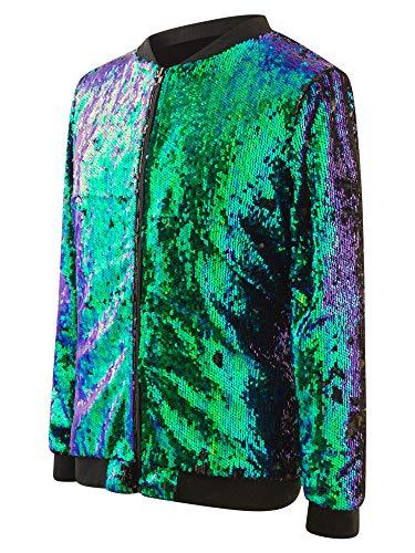 Sequin Jacket Reversible Color Change Zipper Front Festival Fashion Blue/Green