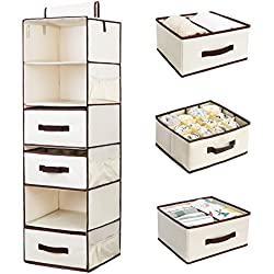 StorageWorks Hanging Closet Organizer with 2 Drawers & 2 Dividers & 1 Underwear Drawer, Foldable Polyester Canvas Hanging Accessory Shelves, Natural, 6-Shelf, 13.6x12.2x42.5 in