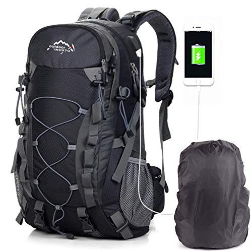 Hiking Daypacks Backpack for Men Women 40L Waterproof Travel Outdoor Camping Trekking USB from AM SeaBlue