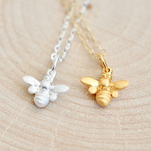 - 3D Bumble Bee Necklace in Sterling Silver with 16 Inch Chain - Jamber Jewels