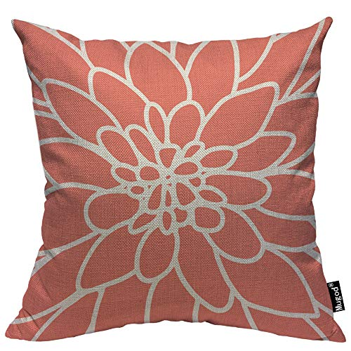Mugod Dahlia Flower Throw Pillow Cover Coral Modern Pink Rose Floral Petal Nature Spring Decorative Pillow Cases Square Cotton Linen Cushion Cover for Home Bed Sofa Couch 18x18 Inch